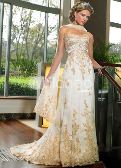 Lace A-line Strapless Empire Waist Applique Beading Satin Wedding Dress