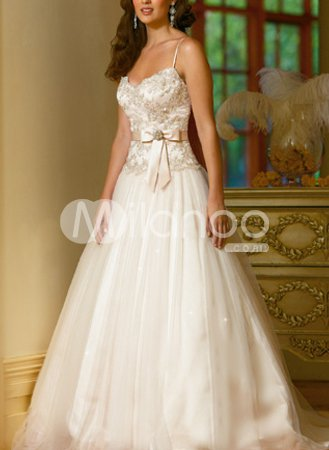 Ball Gown Spaghetti V Neck Beading Applique Taffeta Pongee Wedding Dress