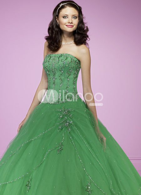Green Ball Gown Strapless Beading Embroidery Satin Tulle Ball Gown Dress