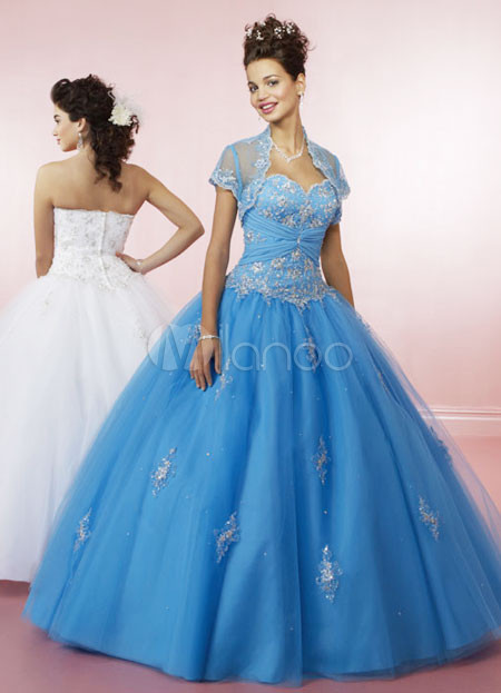 Strapless Sweetheart Beading Embroidery Satin Organza Ball Gown Dress