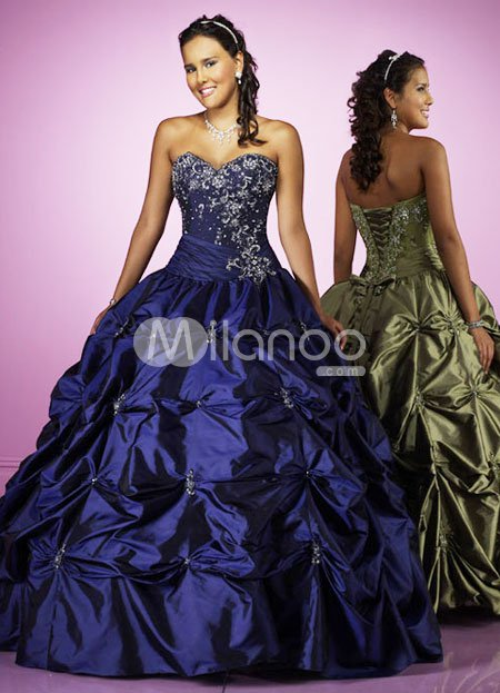 Blue Ball Gown Sweetheart Beaded Taffeta Prom Dress