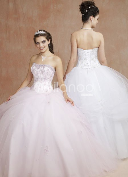 Romantic Sweetheart Strapless Beading Embroidery Satin Organza Ball Gown