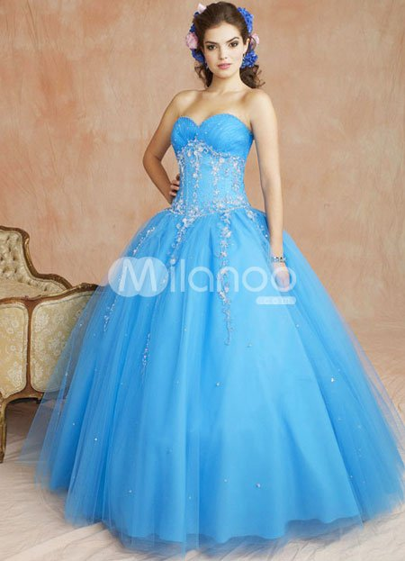 Blue Sweetheart Beaded Embroidery Satin Organza Ball Gown Dress