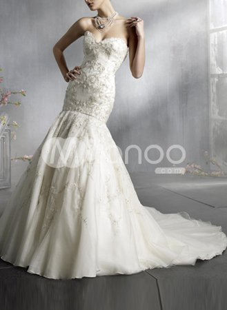 Lace Style Mermaid Trumpet Sweetheart Strapless Applique Beading Satin Chiffon