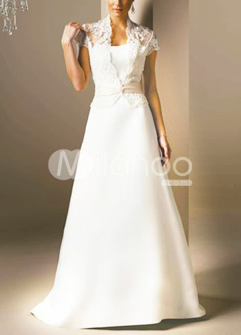 White A-Line Sash Beading Applique Lace Pongee Satin Wedding Dress