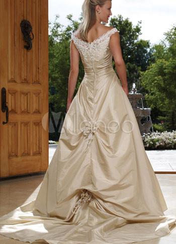 Ivory a line off the shoulder beaded applique satin for Off the shoulder taffeta wedding dress