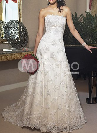 Ivory A-line Strapless Beading Applique Satin Lace Wedding Dress