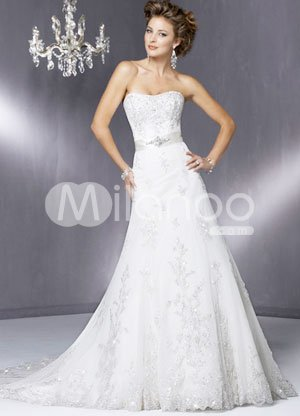 White A-line Strapless Beading Lace Satin Wedding Dress