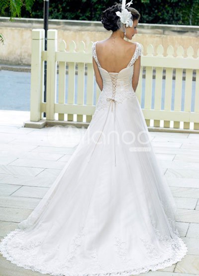 Sleeve Wedding Dress on Line Sweetheart Cap Sleeves Lace Satin Wedding Dress   Milanoo Com