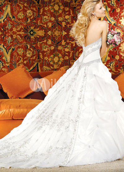 Euro Style Ball Gown Beaded Strapless Sweetheart Satin Organza Wedding Dress