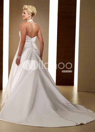 Plus Size Ivory Halter VNeck Beaded Satin Lace Wedding Dress