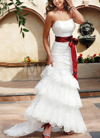 Elegant Mermaid Trumpet Strapless Sash Satin Wedding Dress