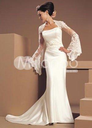 Lace Ivory Sheath Strapless Beaded Satin Wedding Dress