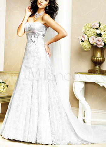White Strapless A line Satin Lace Luxury Wedding Dress