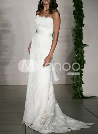 White Strapless Sash Beaded Satin Lace Wedding Dress