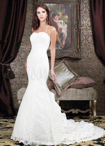 Luxury Wedding Cards on White Strapless Sweetheart Mermaid Trumpet Satin Luxury Wedding Dress