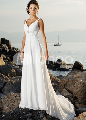 White V-Neck Empire Waist Beading Chiffon Satin Wedding Dress