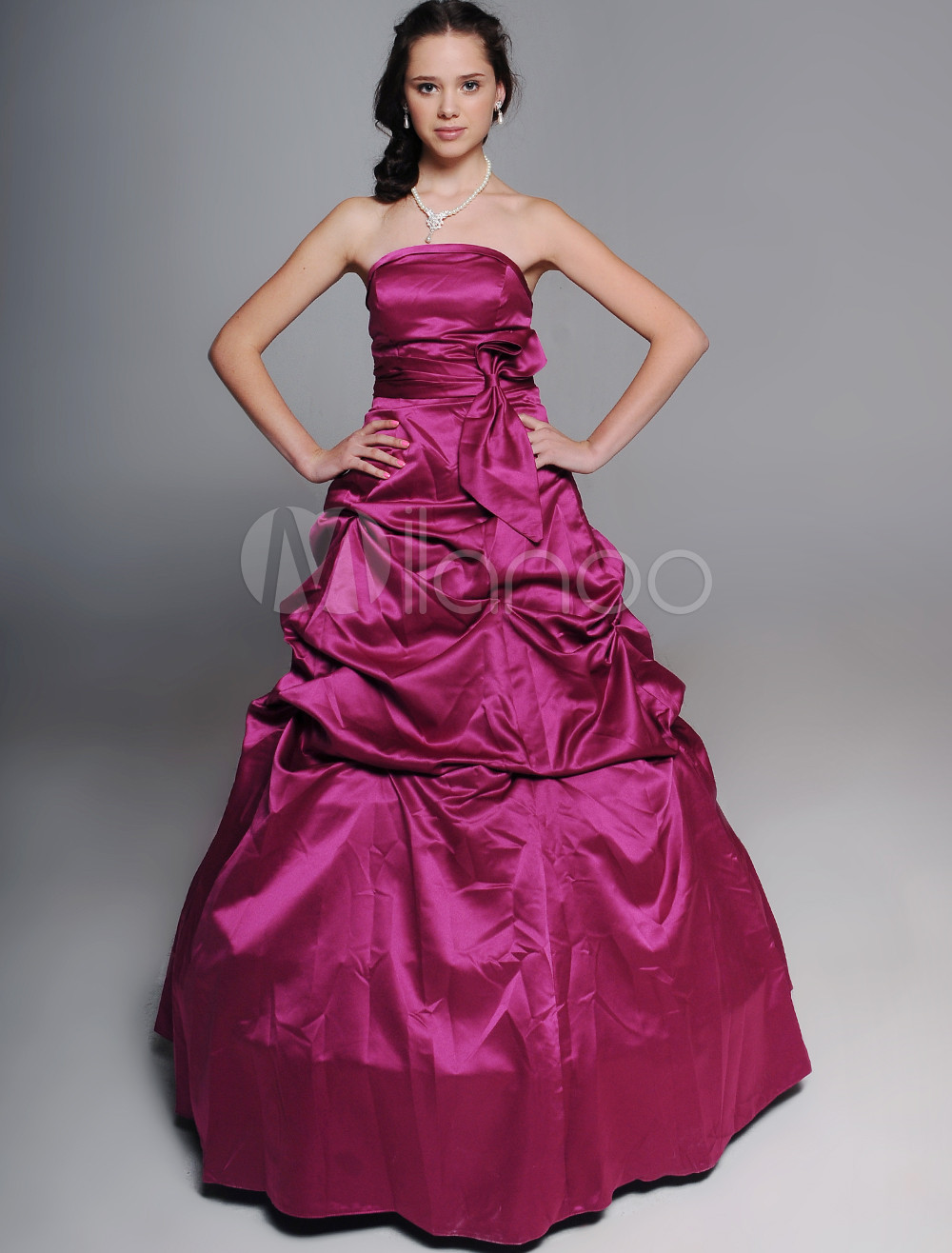 Ball Gown Strapless Sash Satin Bridesmaid Dress