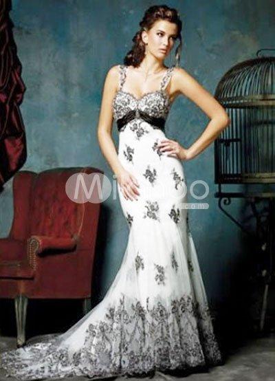 Sheath Sweetheart Beaded Train Satin Prom Dress