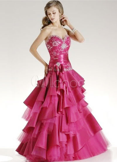 Sweetheart Beaded Multi-Layer Taffeta Prom Dress
