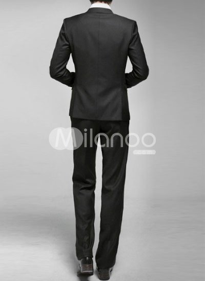 Black One Single Button Worsted Groom Wedding Tuxedo