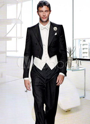 Formal White And Black Worsted Men 39s Wedding Suit
