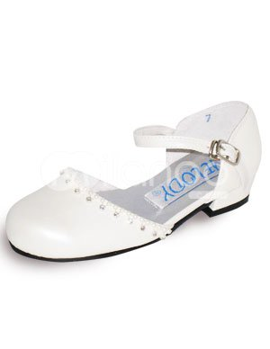 Ivory Tip Top Rhinestone PU Flower Girl Shoes