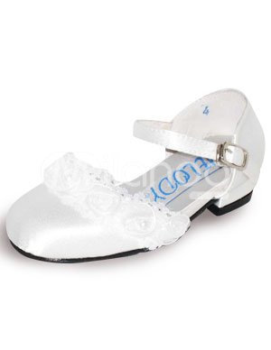 White Lace Tip Top Satin Flowergirl Shoes