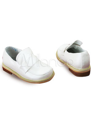 White PU Round Toe Flower Girl Shoes