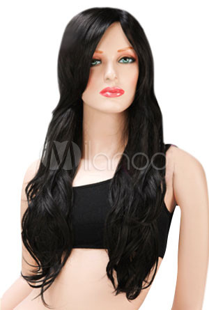 Natural-Women-scm-Long-Curly-Black-Fashion-Wig-With-Diagonal-Bangs ...