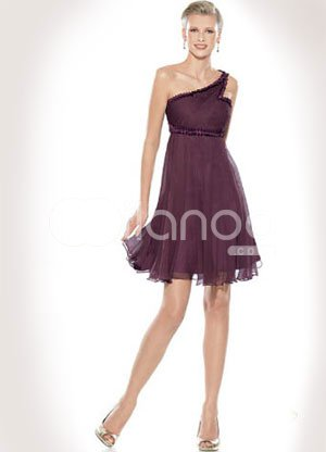 One Shoulder Chiffon Beaded Short Length Prom Homecoming Dress