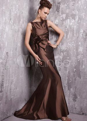 Chocolate Sleeveless Sweep Taffeta Prom Dress