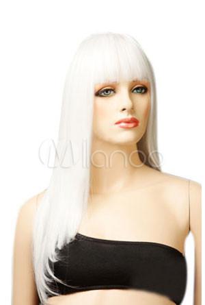 Weiße Mode Perücke, lang und gerade.Geeignet für Halloween, Party