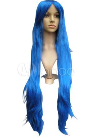 Attractive 100cm Long Blue Fashion Wig For Women