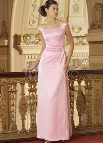 Grace Simple Floor Length Satin Wedding Party Dress