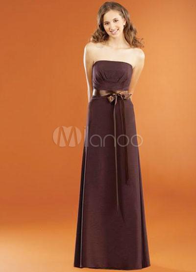 Strapless Sash Bow Floor Length Chiffon Bridesmaid Dress P26064