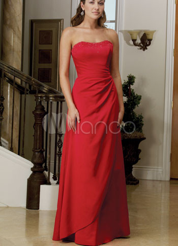 Red Strapless Sequins Satin Floor Length Evening Gown
