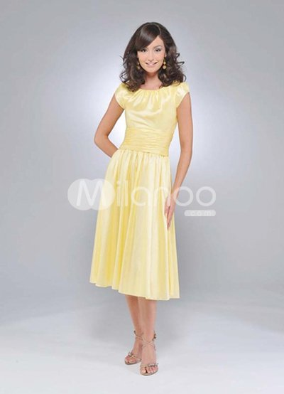 Mother  Groom on Short Sleeves Pleated Tea Length Satin Mother Of Groom And Bride Dress