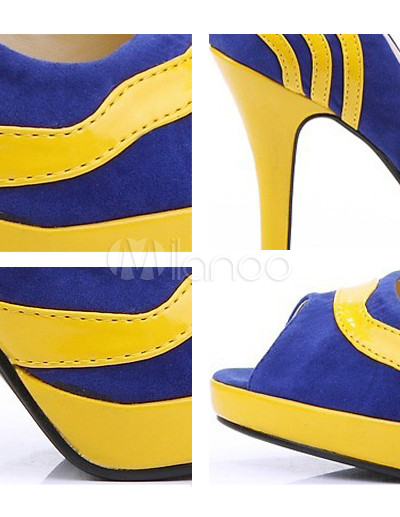 Yellow And Blue 3 7/10&39&39 High Heel Peep Toe Nubuck PU Women&39s