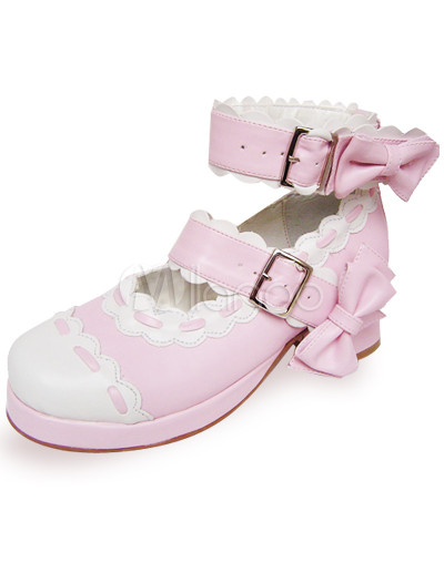 Pink  White Saddle Shoes on Pink And White Bow Ankle Straps Scalloped Pu Lolita Shoes   Milanoo