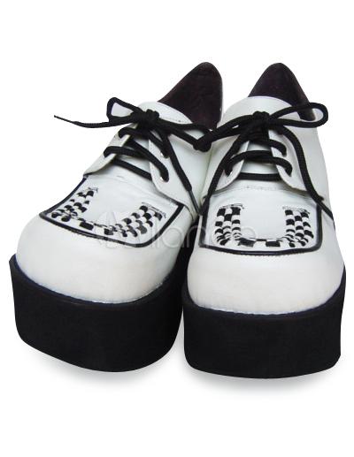3\'\ ' Haut talon blanc plate-forme PU Lolita Shoes