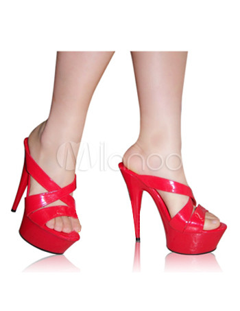 6'' High Heel 2'' Platform Red Crisscross Patent Leather Sexy Shoes