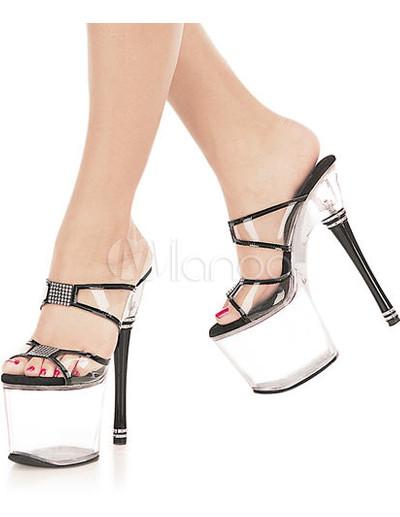 Milanoo UK  7 9/10'' High Heel 4'' Platform Transparent PVC Sexy Shoes