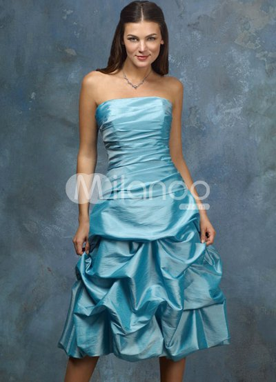 Blue Strapless Pleated Ball Gown Knee Length Taffeta Prom Dress