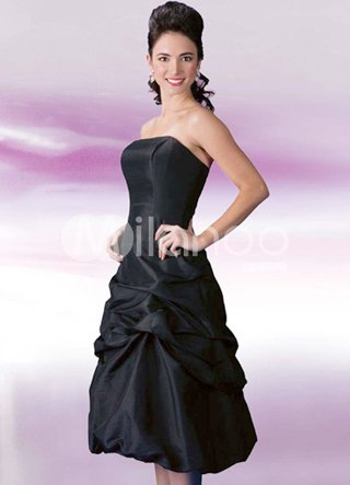 Black Elegant Strapless Ruched Taffeta Prom Dress