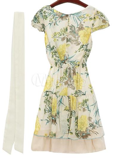 Hawaiian short sleeves chiffon women 39 s print dress for Hawaiian wedding dresses with sleeves