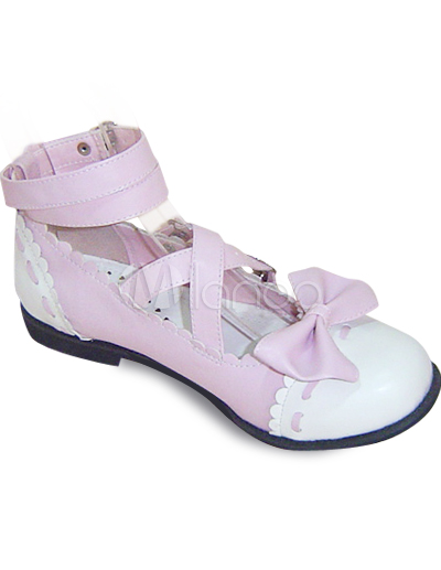 Pink  White Saddle Shoes on Pink And White Flat Pu Bow Lolita Shoes   Milanoo Com