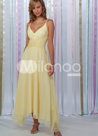 V-Neck Spaghetti Chiffon Summer Prom Dress