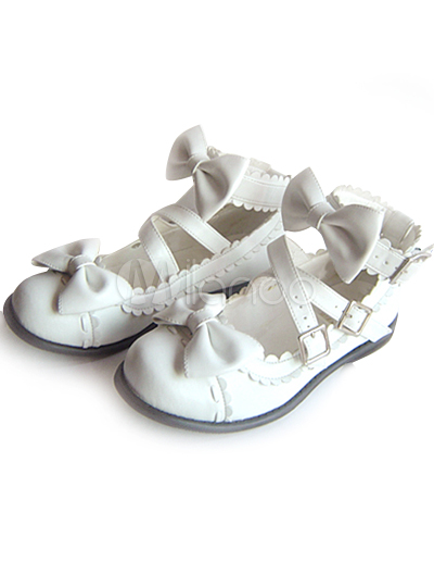 Ankle Strap Wedding Shoes on White Flat Pu Ankle Strap Bow Lolita Shoes   Milanoo Com