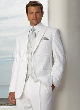 Modernos trajes de novios de color blanco de estilo de for Trajes de novio blanco para boda